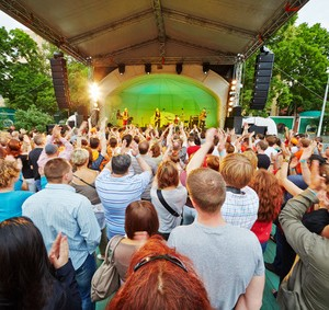 MOSCOW - JUN 23: Vladimir Shahrin and Chaif rock-band perform on stage in Hermitage Garden during VII traditional festival of live sound Music of Summer